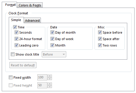 Setting up time zone clock's format with simple options.