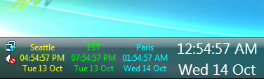 Time Zone Clock displaying in Windows Vista system tray